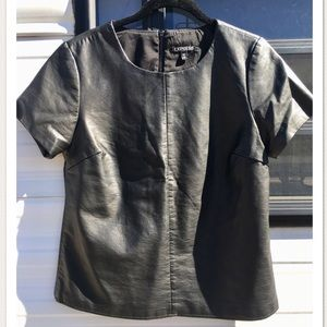 Express Faux Leather Short Sleeve Top